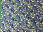 NEW! BLUE BUTTERFLY - FLORAL FLOWERS - Fabric 100% Cotton - Price Per Metre